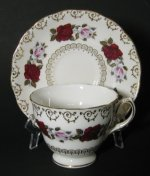 Colclough Red White Roses Tea Cup and Saucer