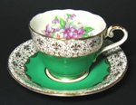 Vintage Aynsley Green Gilt Teacup and Saucer