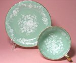 Vintage Aynsley Jade Floral Teacup and Saucer