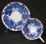 Coalport Pedestal Blue Leaves Teacup and Saucer