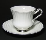 Paragon White Teacup with Silver Trim