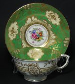 Crown Staffordshire Floral Gilt Green Teacup