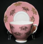 Colclough Pink Rose Gilt Teacup and Saucer