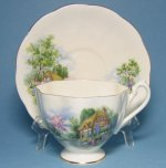 Queen Anne Country Cottage Teacup and Saucer