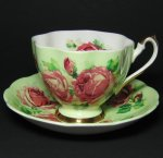 Queen Anne Pink Roses on Green Teacup and Saucer