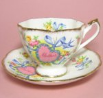 Queen Anne Bluebird Mother Heart Teacup and Saucer