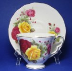 Queen Anne Yellow and Red Roses Teacup