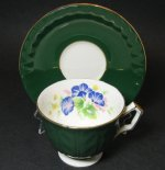 Aynsley Green Floral Teacup and Saucer