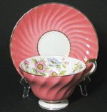 Pink Swirl Ribbed Aynsley Teacup and Saucer
