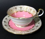 Aynsley Fleur-de-lis Gilt Teacup and Saucer