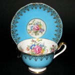 Blue Gilt Floral Teacup