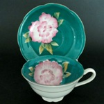 Shafford Green Pink Floral Teacup