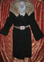 Silver Mink Squared Collar Persian Lamb Coat
