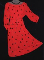 Albert Nipon Geometric Red Dress