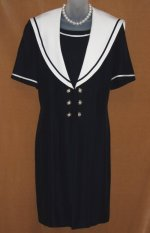 Vintage Joseph Ribkoff Sailor Dress Coat with White Collar