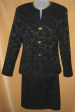 Black Jacquard Suit with Heart Shaped Buttons
