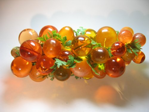 Lucite Orange Large Grapes Frosted Clear