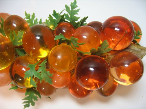 Vintage Lucite Grapes with Plastice Leaves