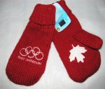 Vancouver 2010 Olympics Red Mittens Large Size