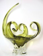 Chalet Rare Olive Green Art Glass