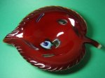 Murano Sommerso Red Leaf Dish