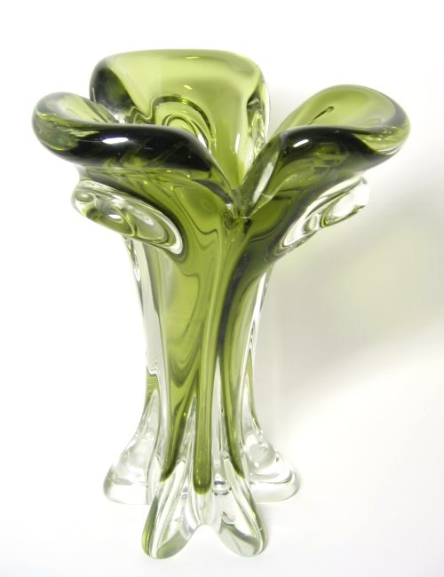 Olive Green Sommerso Art Glass Vintage Vase