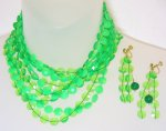 Green Plastic Necklace and Earrings