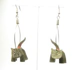 Silver Alpaca Cat Earrings