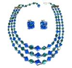 Blue Three Strand Vintage Necklace