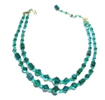 Green Two Strand Vintage Necklace