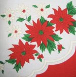 Vintage Poinsettia Tablecloth