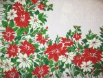 Vintage Christmas Poinsettia Holly Tablecloth