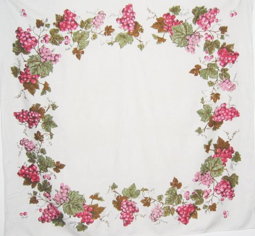 Vintage Linen Tablecloth Pink Grapes and Vines