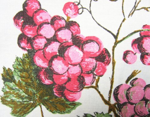 Pink Grape Clusters on Vintage Tablecloth