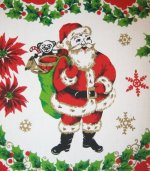 Santa Tablecloth with Trees Toys