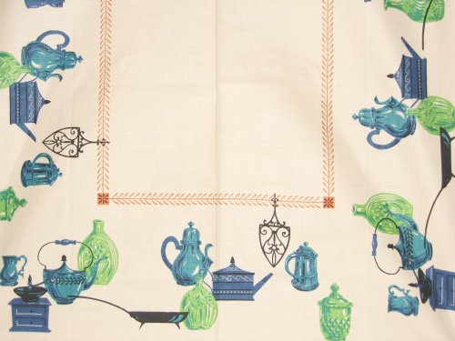 Vintage Eames Era Style Tablecloth Kitchen Ware Cool Blues