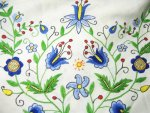 Folk Art Embroidery Vintage Tablecloth