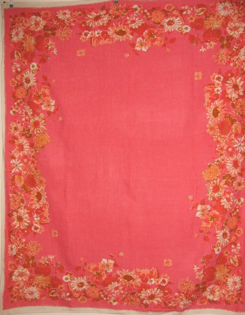 Vintage Linen Tablecloth Floral Raspberry Pink