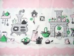 Vintage Tablecloth Pink Kitchen Wood Stoves