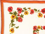 Vintage Tablecloth Orange Yellow Poppies