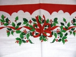 Holly Ribbon Christmas Tablecloth