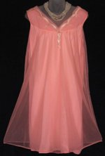 Vintage Queentex Peach Babydoll Peignoir
