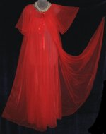 Sheer Red Chiffon Peignoir