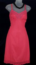 Vanity Fair Red Chiffon Embroidered Slip