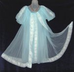 Shadowbox Blue Babydoll Peignoir Set