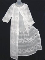 White Lace Peignoir with Blue Nylon Nightgown