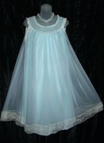 Blue Babydoll Nightgown Lace Hem